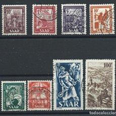 Sellos: SAAR N°255/62 OBL (FU) 1949 - INDUSTRIES ET PAYSAGE. Lote 257471865