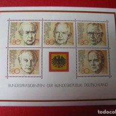 Sellos: ALEMANIA FEDERAL, 1982, HOJA BLOQUE PRESIDENTES DE LA REPUBLICA FEDERAL, YVERT 17. Lote 257732215
