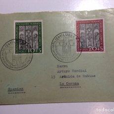 Sellos: SOBRE MATASELLOS PRIMER DÍA CATEDRAL LUBECK ALEMANIA 1951 YVERT 25-26. Lote 257797355