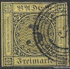 Sellos: BADEN 1851 - 1858 Nº 2 GESTEMPEL - 2/1. Lote 257989650