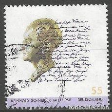 Sellos: ALEMANIA - 2003 - REINHOLD SCHNEIDER 1903 - 1958 - ESCRITOR MI:2339 - USADO. Lote 261238420
