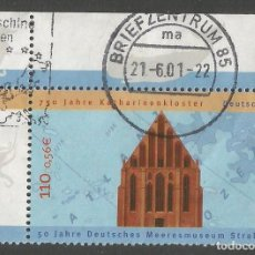 Sellos: ALEMANIA - 2001 - 50 AÑOS DEL MUSEO MARINO ALEMÁN STRALSUND EN EL MONASTERIO CATARIANO DE 750 AÑOS. Lote 261243395
