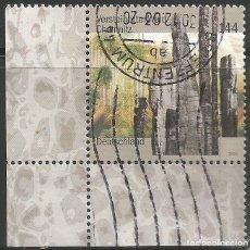 Sellos: ALEMANIA - 2003 - BOSQUE PETRIFICADO - ESQUINA INFERIOR IZQUIERDA CON BORDE - MI: 2358 - USADO. Lote 261244605