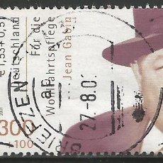 Sellos: ALEMANIA - 2001 - JEAN GABIN - BIENESTAR - USADO CON BORDE LATERAL. Lote 261868200