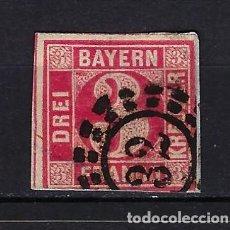 Francobolli: 1862 ESTADOS ALEMANES - BAVIERA BAYERN MICHEL 9 YVERT 10 CIFRAS 3 USADO. Lote 262209265
