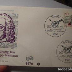 Sellos: GEORG PHILIPP TELEMANN - ALEMANIA - GERMANY- DEUTSCHLAND - SOBRE PRIMER DIA - AÑO 1981. Lote 265661259