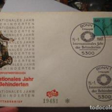 Sellos: AÑO INTERNACIONAL INVÁLIDO - ALEMANIA - GERMANY- DEUTSCHLAND - SOBRE PRIMER DIA - AÑO 1981. Lote 265661314