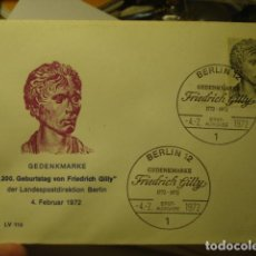 Sellos: FRIEDRICH GILLY - ALEMANIA - GERMANY- DEUTSCHLAND - SOBRE PRIMER DIA - AÑO 1972. Lote 265661509