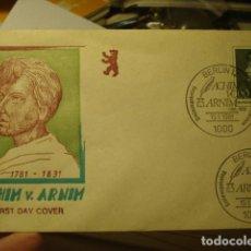 Sellos: ACHIM V- ARNIM - ALEMANIA - GERMANY- DEUTSCHLAND - SOBRE PRIMER DIA - AÑO 1981. Lote 265661519