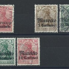 "Francobolli: MAROC ""BUREAUX ALLEMANDS"" LOT 8 TP OBL/* (FU ET MH) 1900-11 (LOT I). Lote 266841359"
