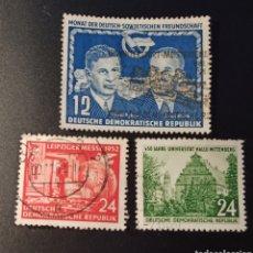 Sellos: 3 SELLOS REPÚBLICA DEMOCRÁTICA ALEMANA (RDA/DDR) DEL AÑO 1951/2 SCOTT #93,#108#111,VALOR CATÁLOGO 6€. Lote 269438193