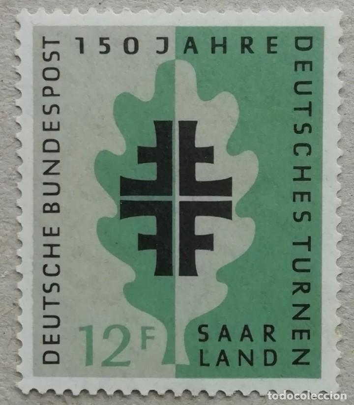1958. SARRE. 419. 150 AÑOS DE LA ORGANIZACIÓN DE LAS FIESTAS ALEMANAS DE LA GIMNASIA. SÍMBOLO. NUEVO (Sellos - Extranjero - Europa - Alemania)