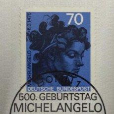Sellos: ALEMANIA 1975. MICHELANGELO (1475-1564) MI:DE 833,. Lote 270919778