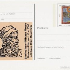 Sellos: [C0374] ALEMANIA 2000, PS BRIEFMARKEN+MÜNZEN MESSE (N). Lote 277145133