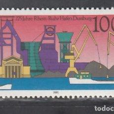 Sellos: ALEMANIA FEDERAL, 1991 YVERT Nº 1390 /**/, PUERTO RIN-RUHR, DUISBURG. Lote 278285388