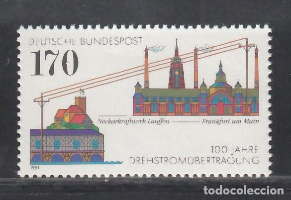 ALEMANIA FEDERAL, 1991 YVERT Nº 1389 /**/, TRANSMISIÓN DE ENERGÍA TRIFÁSICA (Sellos - Extranjero - Europa - Alemania)