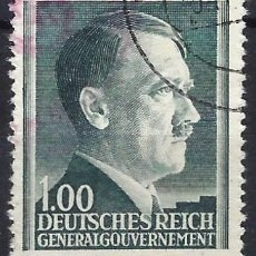 Sellos: GOBIERNO GENERAL EN POLONIA 1941 - A.HITLER, 1 ZL. AZUL VERDOSO - USADO. Lote 278408878