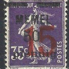 Sellos: MEMEL 1921 - SEMBRADORA, VIOLETA ROJIZO, SOBRECARGA ROJA SOBRECARGA NEGRA - MH*. Lote 278410438