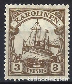 ISLAS CAROLINAS ALEMANAS 1901 - EL ACORAZADO HOHENZOLLERN - MH* (Sellos - Extranjero - Europa - Alemania)