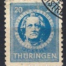 Sellos: ALEMANIA, THURINGEN 1945 - JOHANN WOLFGANG VON GOETHE - USADO. Lote 278412383