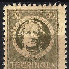 Sellos: ALEMANIA, THURINGEN 1945 - JOHANN WOLFGANG VON GOETHE - MH*. Lote 278412533