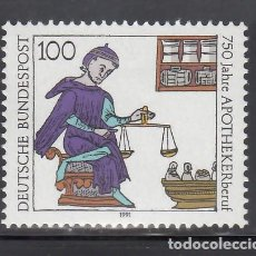 Sellos: ALEMANIA FEDERAL, 1991 YVERT Nº 1322 /**/, FARMACÉUTICO: MINIATURA DEL CÓDIGO FRANCÉS DEL SIGLO XII. Lote 278512468