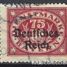 """Selos: ALEMANIA 1920 - SELLO DE SERVICIO, SELLO DE BAVIERA, SOBREIMPRESO """"DEUTSCHES REICH"""" - USADO. Lote 278824068"""