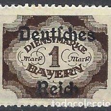 "Selos: ALEMANIA 1920 - SELLO DE SERVICIO, SELLO DE BAVIERA, SOBREIMPRESO ""DEUTSCHES REICH"" - MNH**. Lote 278824543"