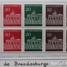 Sellos: BLOQUE 10 SELLOS PUERTA DE BRANDEBURGO NUEVOS ALEMANIA 1966. Lote 280969748