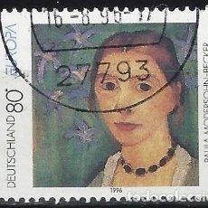 Sellos: ALEMANIA 1996 - EUROPA, MUJERES FAMOSAS, P.MOHERSOHN-BECKER, PINTORA - USADO. Lote 286185863