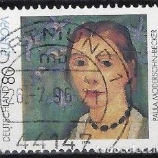 Sellos: ALEMANIA 1996 - EUROPA, MUJERES FAMOSAS, P.MOHERSOHN-BECKER, PINTORA - USADO. Lote 286185938