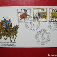 Sellos: BERLÍN 1989 SERIE CORREO EN FDC SOBRE PRIMER DÍA EXCELENTE!!!. Lote 288477773