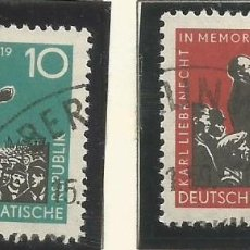 Sellos: ALEMANIA ORIENTAL - 1958 - ROSA LUXEMBURG Y KARL LIEBKNECHT EN MEMORIA - MATASELLADO CON GOMA. Lote 289524203
