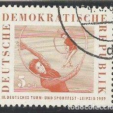 Sellos: ALEMANIA - ORIENTAL - 3º FESTIVAL DEPORTIVO DE LEIPZIG 1959 - YVERT 421 - USADO SELLADO CON GOMA. Lote 289841343