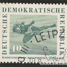 Sellos: ALEMANIA - ORIENTAL - 3º FESTIVAL DEPORTIVO DE LEIPZIG 1959 - YVERT 422 - USADO SELLADO CON GOMA. Lote 289841443