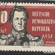 Sellos: ALEMANIA - ORIENTAL - 1960 / 61 - 200 ANIV. DE NACIMIENTO DE NEIDHARDT DE GNEISNAU - USADO - MI: 793. Lote 294964038