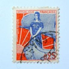 Sellos: SELLO POSTAL FRANCIA 1960, 0,25 F, MARIANNE EN EL BARCO, USADO. Lote 294984273