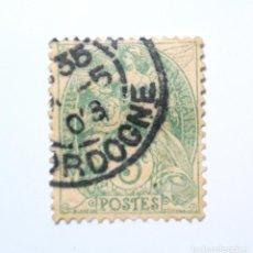 Sellos: SELLO POSTAL FRANCIA 1900, 5 C, ANGELES, SUJETOS ALEGORICOS, TYPE BLANC, USADO. Lote 295452883