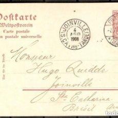 Sellos: ALEMANIA IMPERIO. 1908. FRANKFURT A JOINVILLE ( BRASIL).. Lote 296577988
