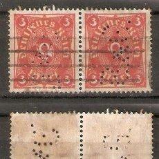 Sellos: ALEMANIA IMPERIO. 1921. MI 172. PAR PERFORADO. Lote 296578103