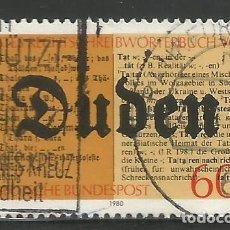 Sellos: ALEMANIA - FEDERAL - 1980 - DUDEN - DICCIONARIO - MI: 1039 - USADO. Lote 297103063
