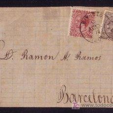 Sellos: ESPAÑA.(CAT.188,192).1878.FRONTAL DE RIVADEO A BARCELONA.10 Y 15 C. MAT.TRÉBOL *RIVADEO/LUGO*.BONITA. Lote 22972259