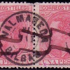 Sellos: ESPAÑA. (CAT. 207 (2)). PAREJA 1 PTA. MAT. PLUMA Y FECHADOR * VALMASEDA/BILBAO *. MAGNÍFICA Y RARA.. Lote 25786543