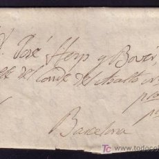 Sellos: ESPAÑA.1880.CARTA DE MANRESA A BARCELONA.POR CARRETERO.CRUZ A PLUMA POR NO TENER QUE PAGAR PORTE.RR.. Lote 25736975