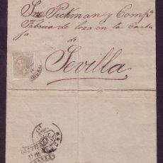 Sellos: ESPAÑA.(CAT. 204).1881.CARTA DE FERROL (CORUÑA) A SEVILLA. 25 CTS. DORSO *SEVILLA/FRANCO*. MUY RARA.. Lote 27416620
