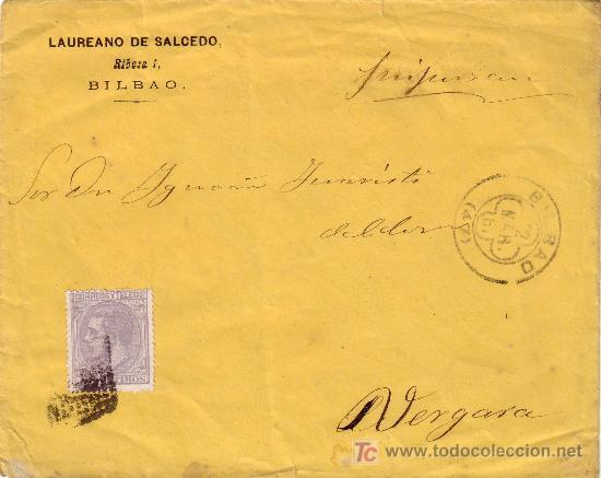 ESPAÑA. (CAT. 204). 1881. SOBRE DE BILBAO A VERGARA. 25 CTS. MAT. R. P. TRÉBOL DE BILBAO Y LLEGADA. (Sellos - España - Alfonso XII de 1.875 a 1.885 - Cartas)