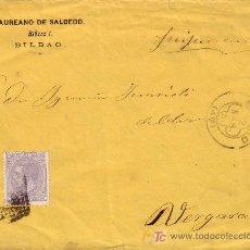 Sellos: ESPAÑA. (CAT. 204). 1881. SOBRE DE BILBAO A VERGARA. 25 CTS. MAT. R. P. TRÉBOL DE BILBAO Y LLEGADA.. Lote 23396303