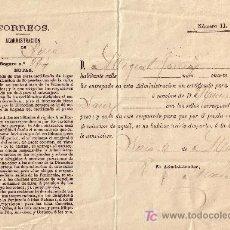 Sellos: RECIBO DE UNA CARTA CERTIFICADA DE SORIA: FECHADO EL DÍA 3 DE MAYO DE 1884. RARÍSIMO.. Lote 26169739