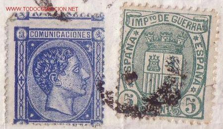 Sellos: ESPAÑA.(Cat. 164/Graus 215-I).1876. CARTA DE BARCELONA A MÁLAGA.10 C. Y 5 C. FALSO POSTAL. MUY RARA. - Foto 2 - 27188757