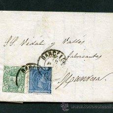 Sellos: CARTA COMPLETA BARCELONA A MANRESA. FECHADOR BCN 18 MAR 1876.. Lote 10718825